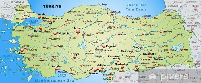 Landkarte Der Turkei Mit Nachbarlandern Wall Mural Pixers We