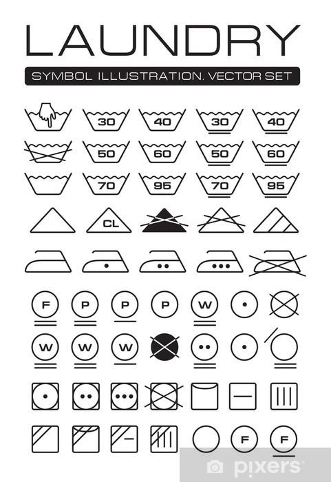 21875d1f Pixerstick-klistremerke Klesvask Symboler Innsamling - Kunst- og Håndverk