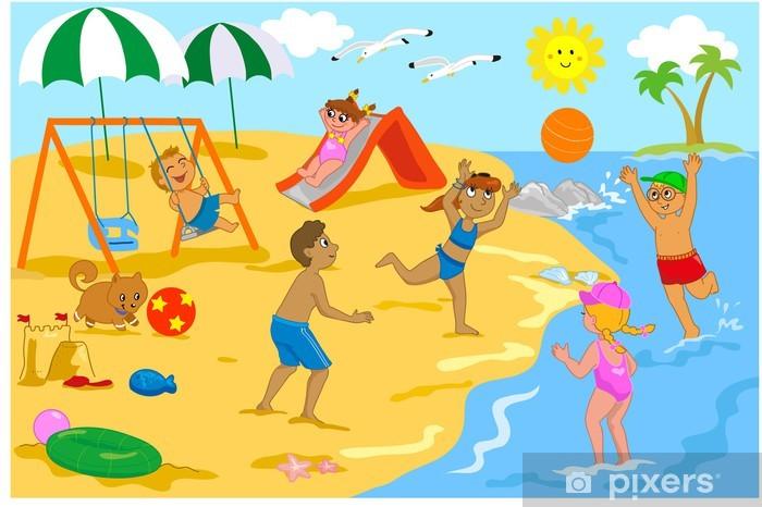 Fototapete Kinder spielen am Strand mit Ball, Rutsche und Schaukel