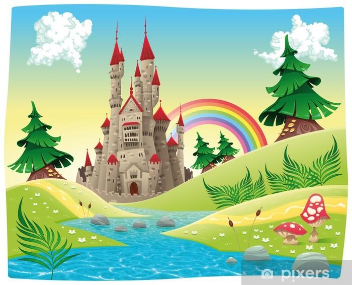 Fotomural Panorama con el castillo. Dibujos animados e ...