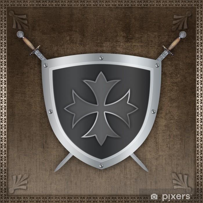 Fototapeta winylowa Tarcza srebrny ozdobny krzyż maltański i miecze. - Tekstury