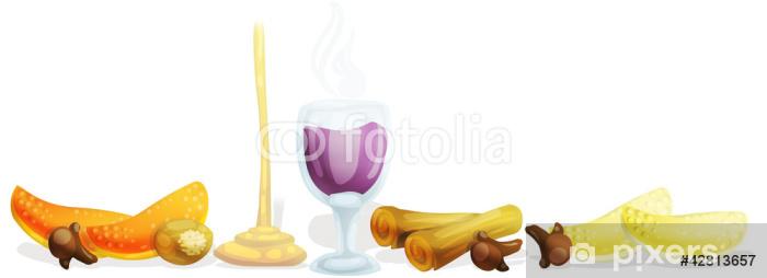 Fototapeta winylowa Ilustrowane składniki vin Brule. strzyżenie ścieżka włączone. - Zdrowie i medycyna