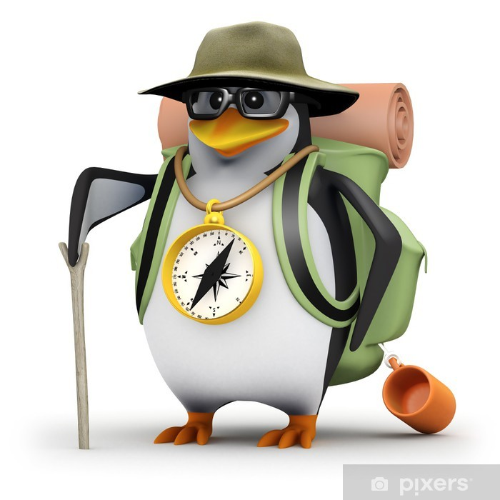 Vinylová fototapeta 3d Penguin v brýlích jde turistika - Vinylová fototapeta
