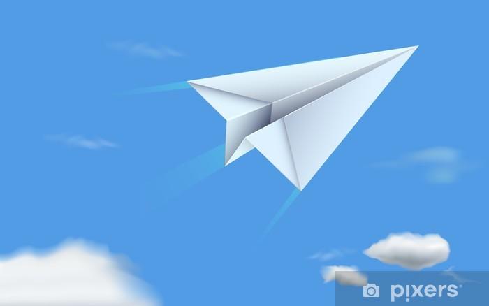 Papier peint vinyle Paper Plane In Sky - Art et création