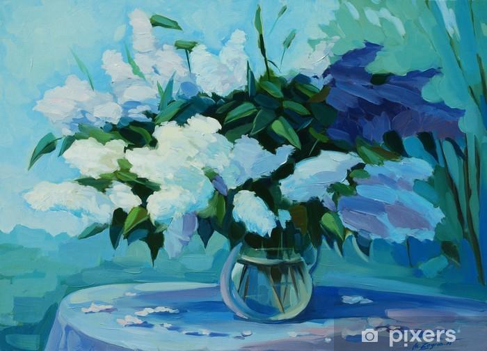 Sticker Pixerstick Bouquet humide de merisier et le lilas, illustration, peinture - Art et création