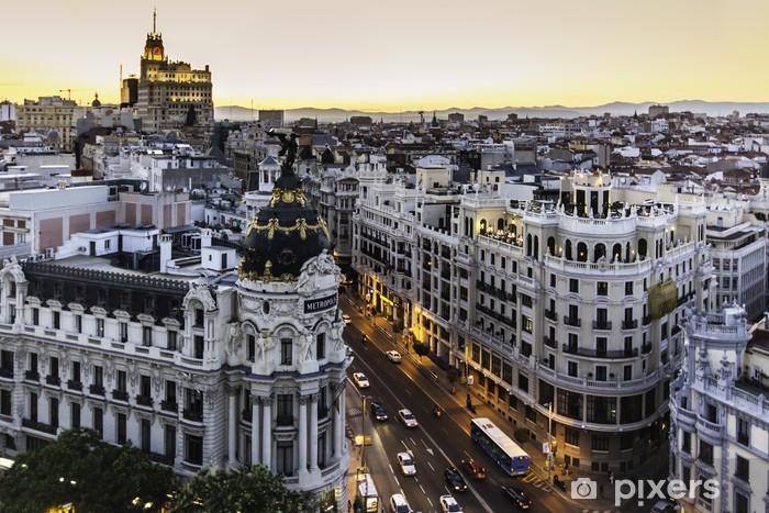 Vinyl Fotobehang Panoramisch uitzicht op Gran Via, Madrid, Spanje. - Thema's