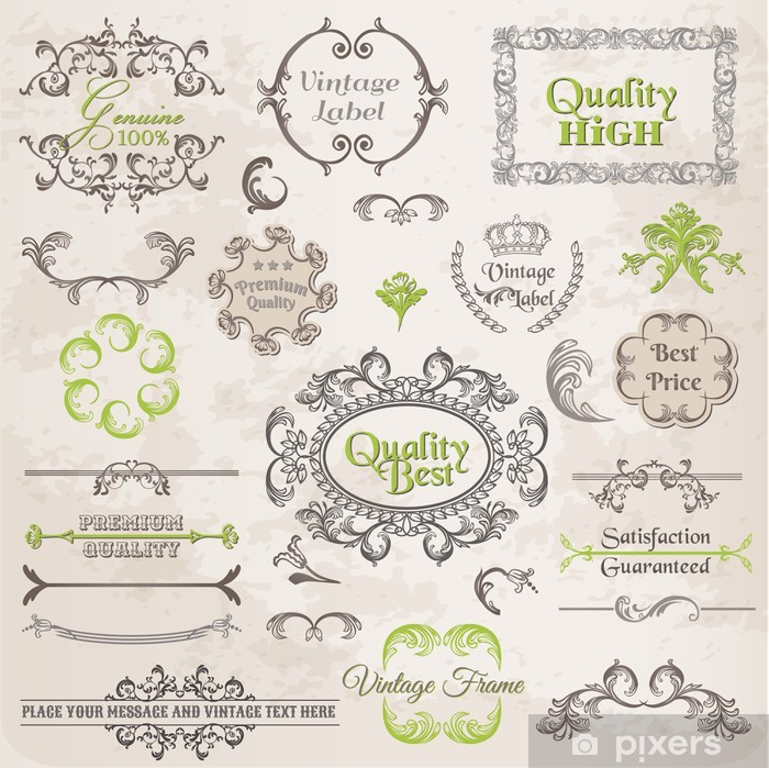 Naklejka Pixerstick Wektorowa zestaw: elementy projektu kaligraficzne i strony dekoracji - Świętowanie