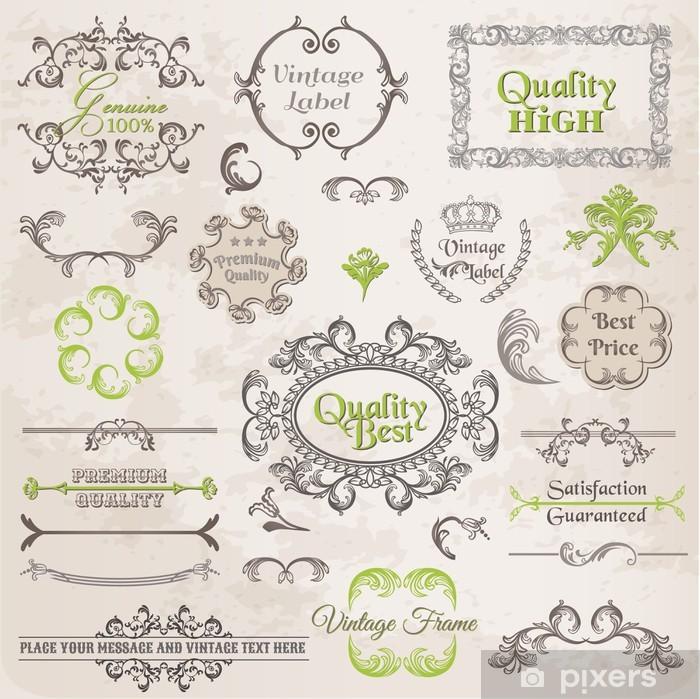 Sticker Pixerstick Vector Set: Éléments de conception calligraphiques et Décoration Page - Célébrations