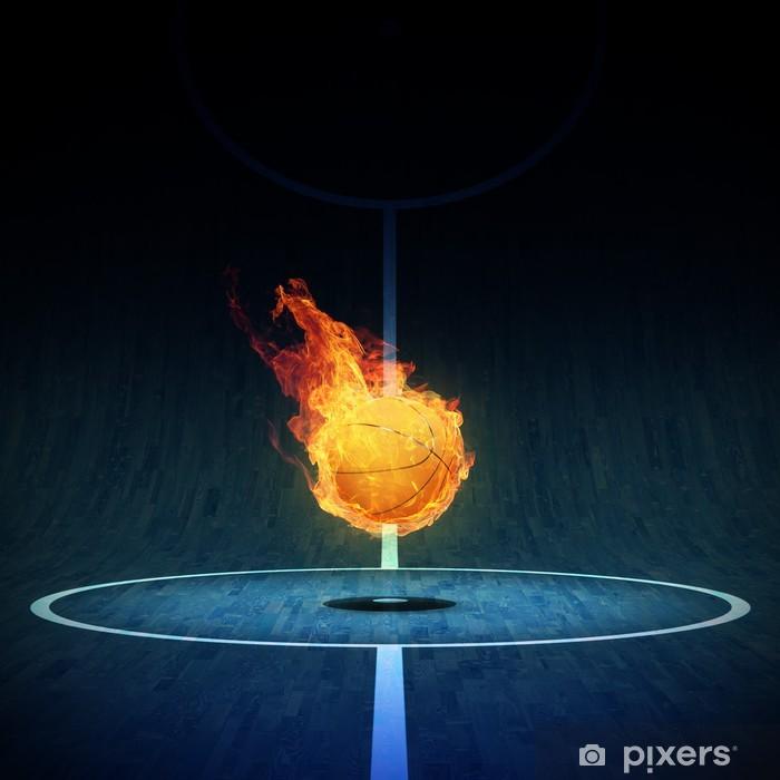 Plakat Koszykówka w ogniu w polu 3D - Artykuły sportowe