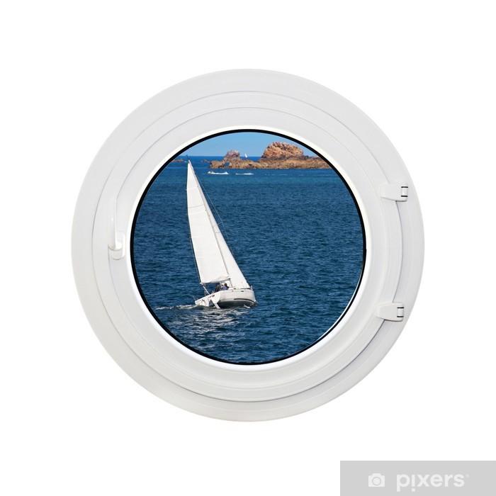 Sticker pour table Lack Hublot vue mer un voilier, un fonds blanc -