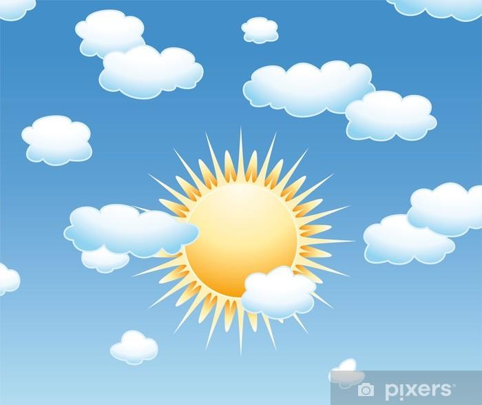 Naklejka Pixerstick Chmury wektor i słońce na niebie - Tematy