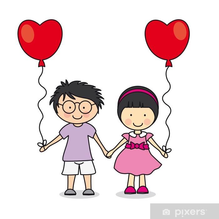 Naklejka Pixerstick Dzieci trzymając się za ręce. Pierwsza miłość - Naklejki na ścianę
