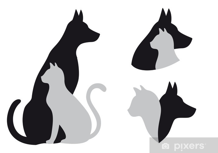 cat and dog, vector Vinyl Wall Mural - Themes