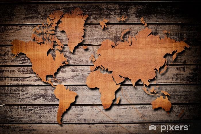 Papier peint vinyle Carte du monde sculpture sur bois planche - Thèmes