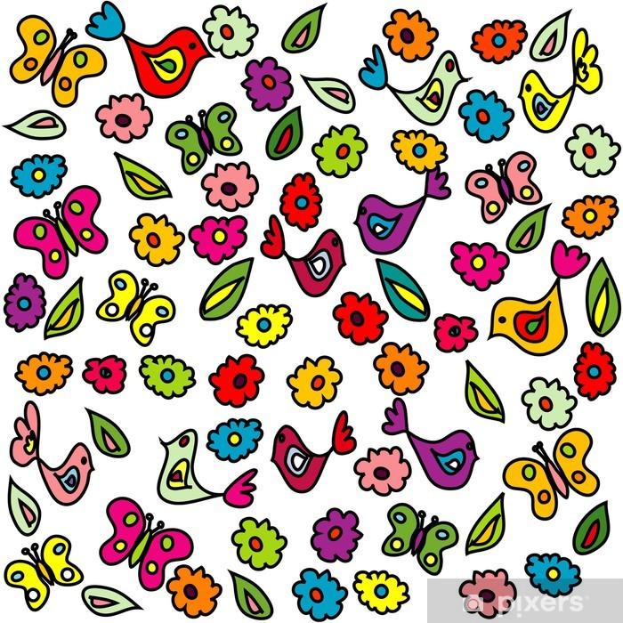 Vinylová fototapeta Souvislosti s ptáky, motýly a květiny, vzor pro druh - Vinylová fototapeta