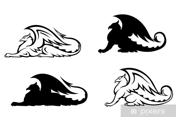 Naklejka Pixerstick Heraldyczne gryfy - Fikcyjne zwierzęta