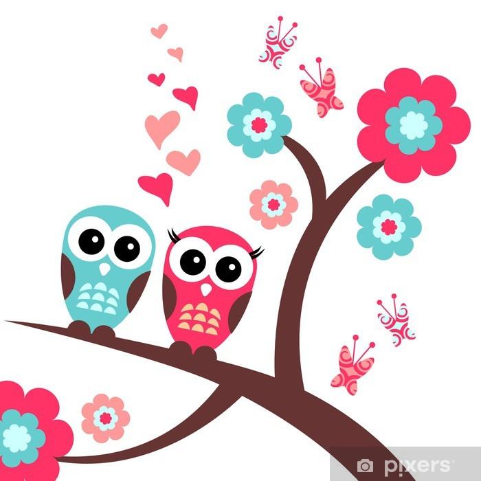 Naklejka Pixerstick Całkiem romantyczną kartkę z sowy - Dla przedszkolaka