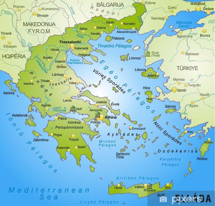Umgebungskarte Von Griechenland Mit Hauptstadten Sticker Pixers