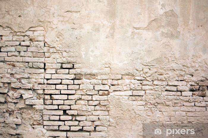 Fotomural Estándar Color de la pared de ladrillo del grunge de edad con estuco dañado - Temas