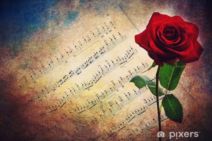 Vinyl Fotobehang Antieke muzikale score met rode roos - Achtergrond