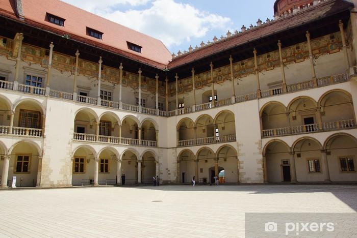 Vinilo Pixerstick Arcadas en el castillo de Wawel en Cracovia, Polonia. - Europa