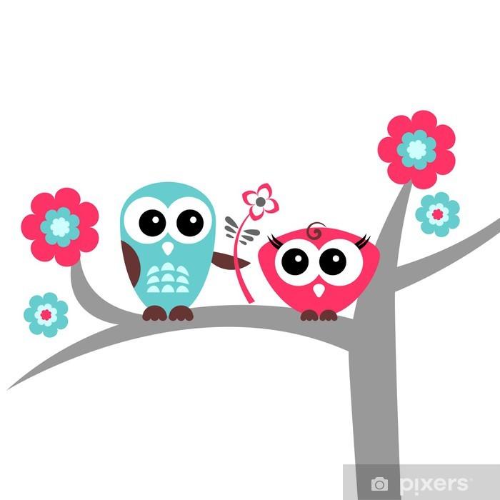 Naklejka Pixerstick Dwa słodkie sowy romantyczny kart - Święta międzynarodowe