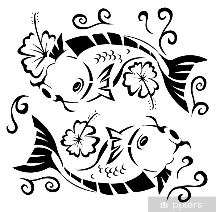 Nálepka Pixerstick Japonský koi - Vodní a mořský život