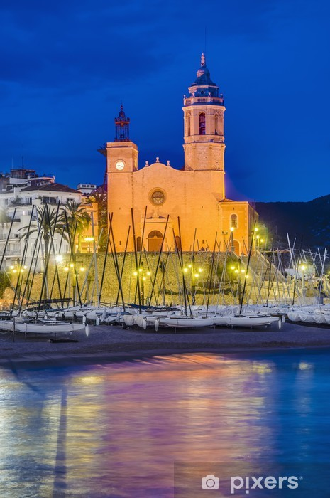 Papier peint vinyle Sant Bartomeu i Santa Tecla église à Sitges, Espagne - Thèmes