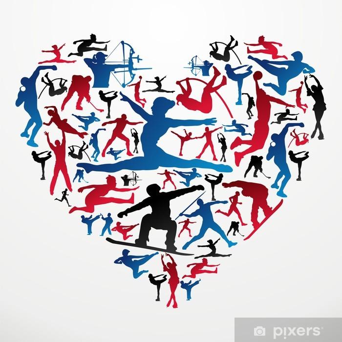 Klesskapklistremerke OL Sport silhuetter hjerte - Lagidrett