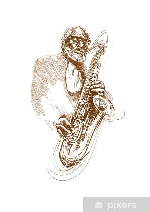 Dessin Saxophone papier peint jazz saxophone joueur, dessin à la main converti en