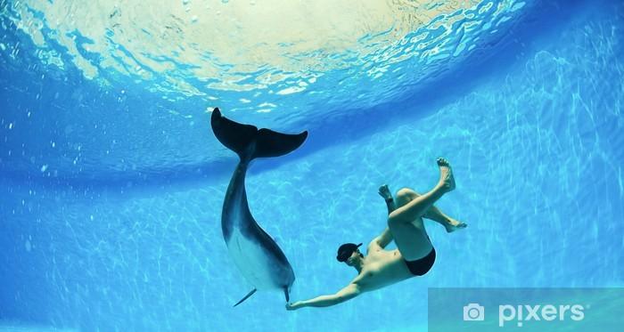 Fototapeta winylowa Człowiek i delfin - Zwierzęta żyjące pod wodą