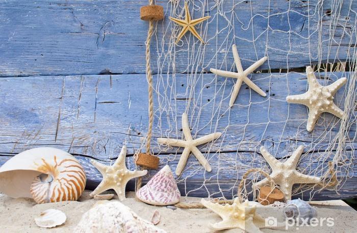 Vinyl Fotobehang Holiday Reminder: nautilus, zeesterren en Jetsam -