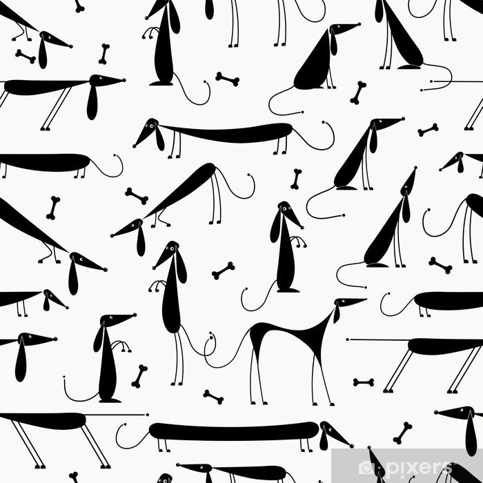 Fototapeta winylowa Śmieszne czarne psy, bezszwowe tło dla swojego projektu - Ssaki