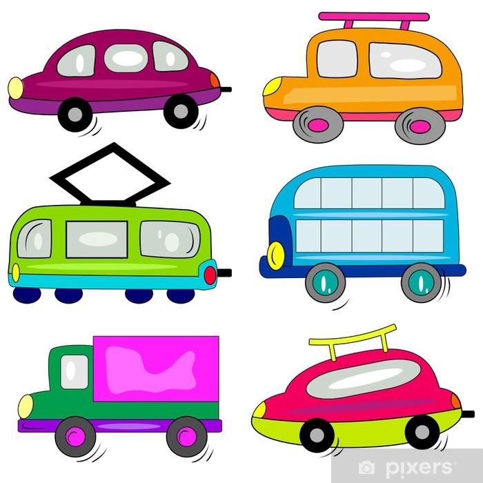 Mural De Parede Auto Icones Do Carro Dos Desenhos Animados Coleta
