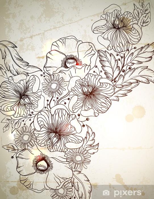 Carta Da Parati Vintage Sfondo Con Fiori Disegnati A Mano Ramo