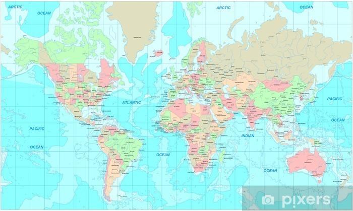 Fototapeta winylowa Mapa polityczna świata - Tematy