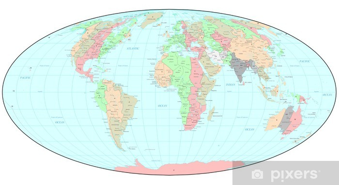 Political World Map With Time Zones Wall Mural Pixers We Live