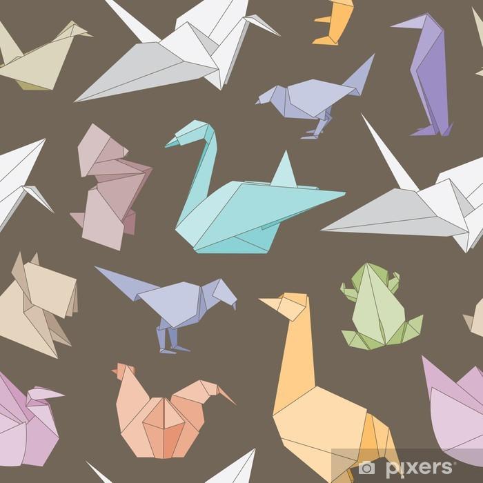 Plakat Origami zwierzęta bez szwu - Azja
