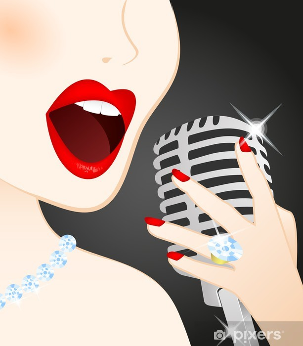 Close up of beautiful woman singing in microphone Vinyl Wall Mural - Themes