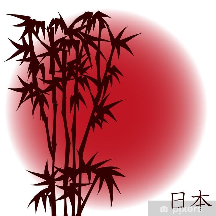 Poster Bamboo sur le soleil rouge - thème japonais - Styles