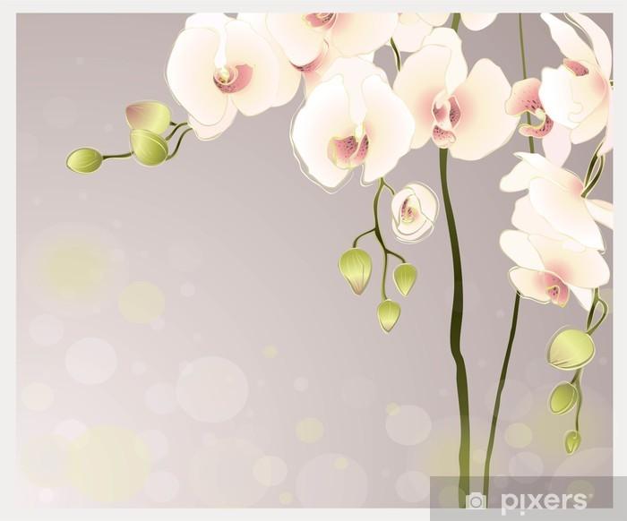 Plakat Karta z pozdrowieniami z orchidei. Ilustracja orhid. - Tematy