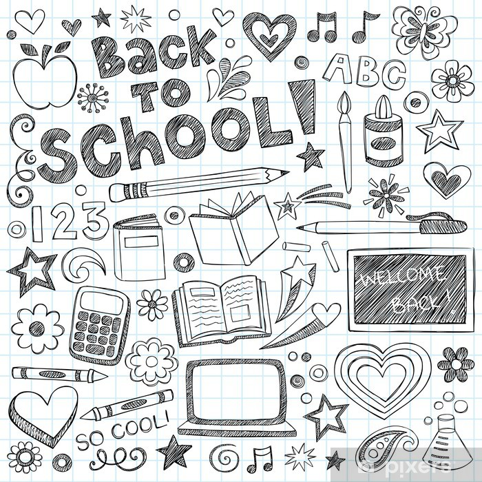 Back to School Supplies Sketchy Notebook Doodles Vector ...