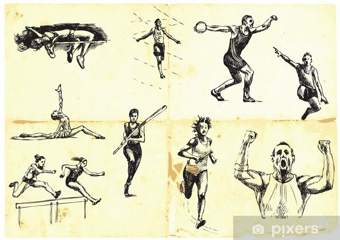 Vinyl-Fototapete Hand gezeichnet Sommersportarten Sammlung - Einzelsportarten