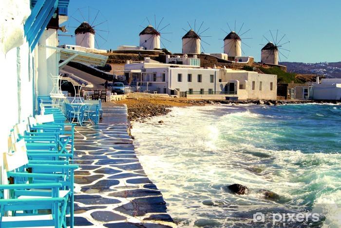 Papier peint vinyle Vue sur les célèbres moulins à vent de Mykonos, Grèce - Europe