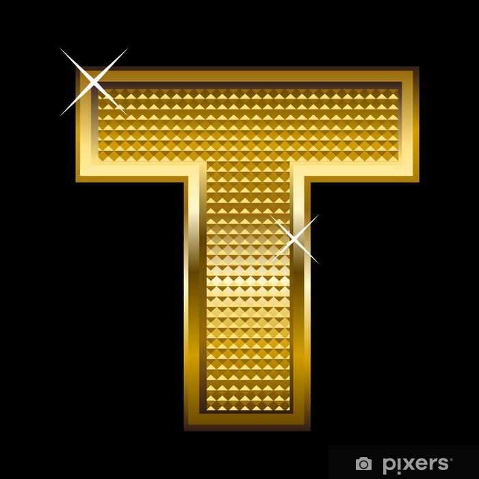 Sticker Or le type de police lettre T Pixerstick