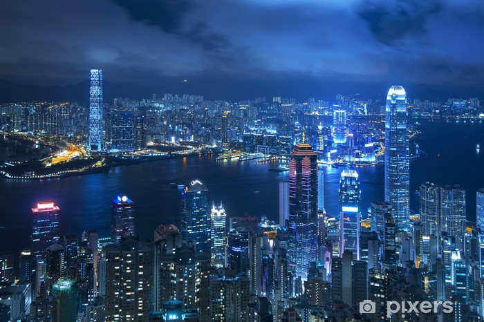 View of Victoria harbor from the peak at Hong Kong Pixerstick Sticker - Styles