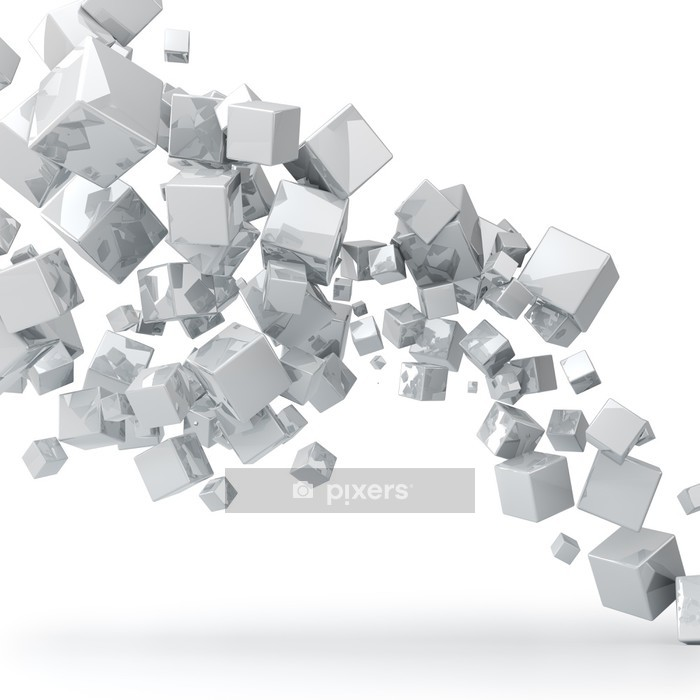 Abstract 3D glossy white cubes background. Wall Decal - Wall decals