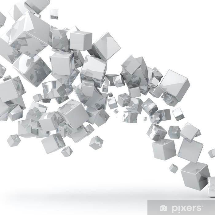 Fototapeta winylowa Streszczenie 3d błyszczący białe kostki tle. - Naklejki na ścianę