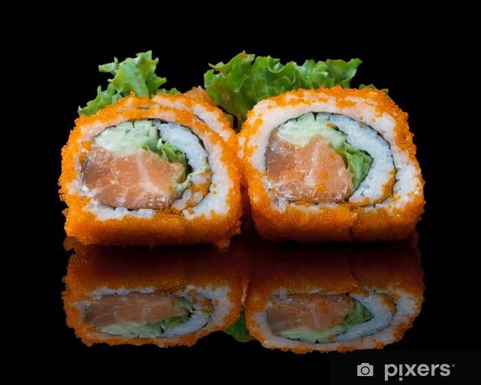 Vinyl-Fototapete Sushi mit fliegenden Fischeier - Sushi