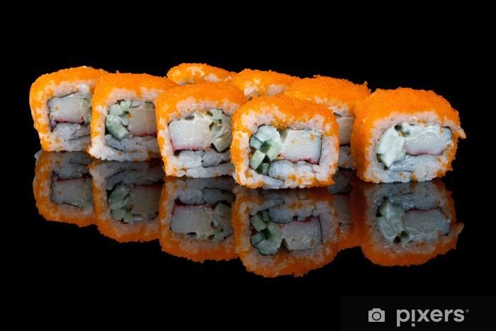 Papier peint vinyle Sushi avec le vol des œufs de poisson - Sushi